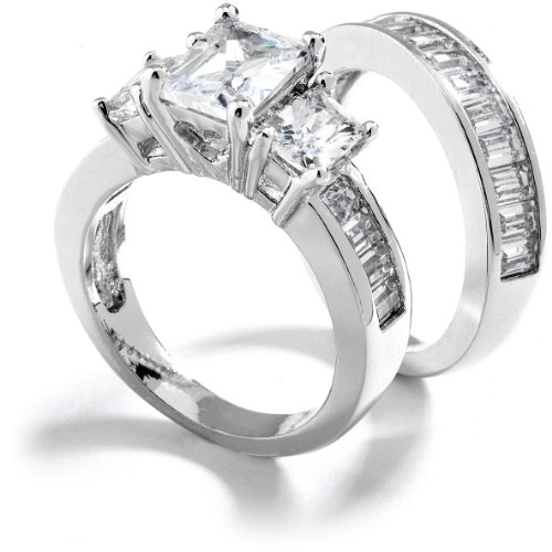 Grade AAAAA Three Stone Emerald Cut Cubic Zirconia Engagement Ring. Total 3 Carat. Rhodium Plated. Size 6