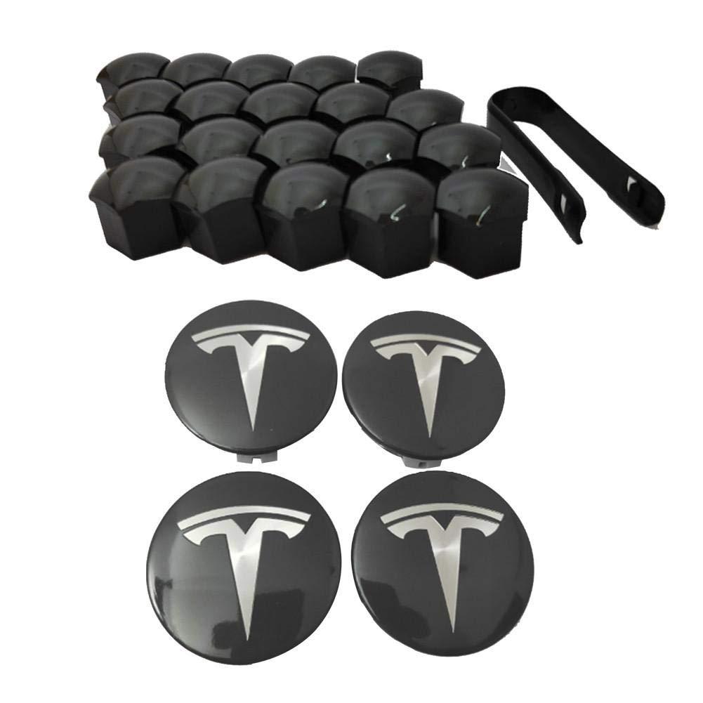 Accesorios de Gran Tesla Cubo de Rueda Central Tesla Modelo 3 dise/ño Elegante Tapa de tapacubos de 4 Paquetes con Logotipo Modelo 3 Tapas de llanta