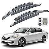 Automotive : VXMOTOR Chrome Trim Smoke Tinted Clip On Window Visor Rain Guard Defector 2013-2017 Honda Accord Sedan 4 Door ONLY
