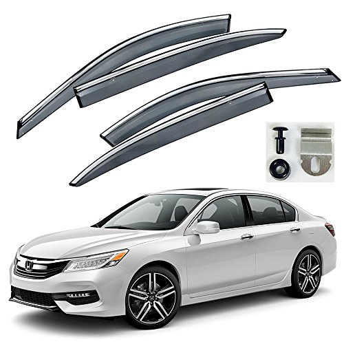 VXMOTOR Chrome Trim Smoke Tinted Clip On Window Visor Rain Guard Defector 2013-2017 Honda Accord Sedan 4 Door (4 Door Sedan Trim)