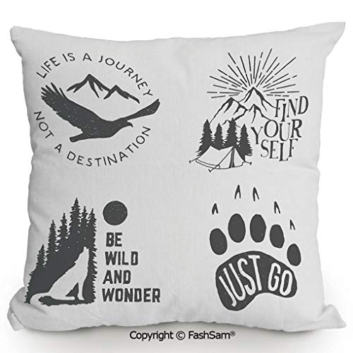 FashSam Throw Pillow Covers Wilderness Hand Drawn Typography Posters Emblems Quotes Hipster Art for Couch Sofa Home Decor(24