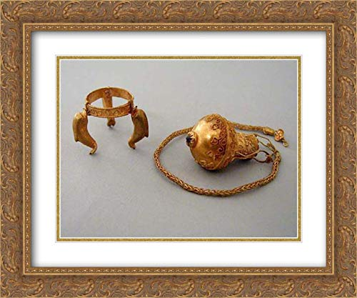 Greek Culture - 24x20 Gold Ornate Frame and Double Matted Museum Art Print - Gold and Garnet Pendant Amphora and Chain with Tripod Stand