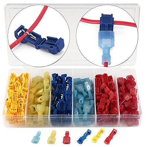 Wrightus 120pcs T-Tap Wire Terminals Quick Splice Electrical Connectors - Quick Wire Splice Taps and Self-stripping with Nylon Fully Insulated Male Quick Disconnect Kit With Case