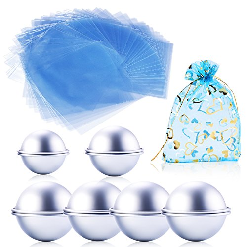 Charm Fons DIY Metal Bath Bomb Mold with 3 Sizes 6 Set 12 Pieces - Including 200 Pcs 6 x 6 Inch Quality Shrink Wrap Bags for Bath Bombs - Make A Bath Bomb and Easy to Keep It - with (Easy Halloween Finger Foods)