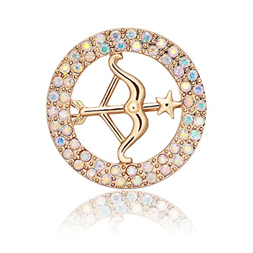 TUSHUO Gold-Plated Bow and Arrow in Different Rhinestone Annulus Brooch(Lucency)]()