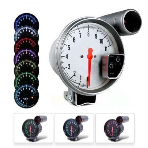 DEALSPLAZA 5'' inch 7 color LED 11K 12V Electronical RPM Tachometer Rev Counter Gauge With Red Shift Light WHITE Face Universal compatible 11000 Sport Meter Kit Car White by Dealsplaza (Image #4)