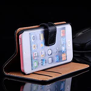 5pcs/lot High Quality Cowskin Genuine Leather Case for ipod touch 5 Flip Card Wallet Cover Free Ship --- Color:Pink