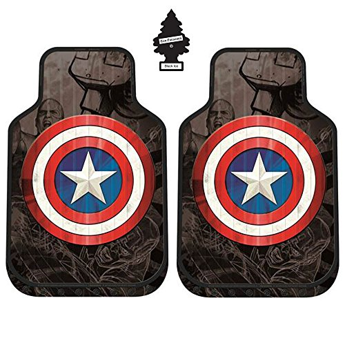 A Pair of New Design Marvel Captain America Auto Truck SUV Car Front Floor Mats Set with Air Freshener