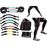 11 Piece Kinetic Speed Agility Training Strength Leg Resistance Fitness Exercise Bands, complete set for Soccer Kick Boxing Basketball Football all Sports Training, Official Elite Athletic Bands