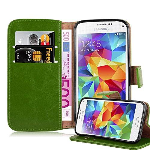 Cadorabo - Funda Estilo Book Lujo para Samsung Galaxy S5 MINI (G800F) con Tarjetero y Función de Suporte - Etui Case Cover Carcasa Caja Protección en VERDE-HIERBA VERDE-HIERBA