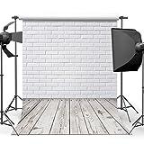 Dobeans 6ft(W) x 9ft(H) White Brick Wall Backdrop Photography Wood Floor Photo Studio Background