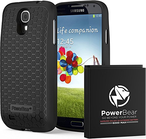 PowerBear Samsung Galaxy S4 Extended Battery [6000mAh] & Back Cover & Protective Case (Up to 2.3X Extra Battery Power) - Black [24 Month Warranty & Screen Protector Included]