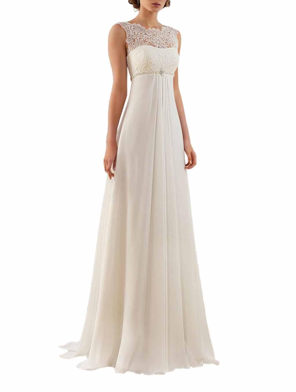 Half Flower Bridal Chiffon Empire Waist Wedding Dresses For Bride A line Floor Length Wedding Gown US12