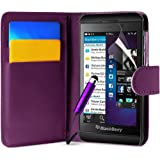 Blackberry Z10 Purple Wallet Pocket PU Leather Case Covers, Screen Protector , Polishing Cloth and High Capacitive Touch Screen Stylus