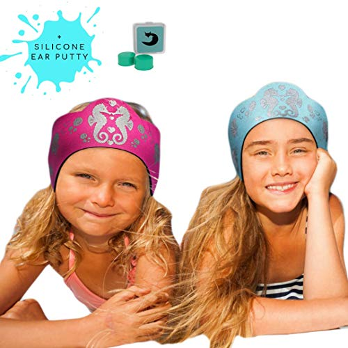 Will & Fox Swimming Ear Band for Kids Toddlers & Babies with Ear Tubes ~Free Putty Earplugs ~The #1 Headband ENT Physicians Recommend ~ Holding Plugs in Place and Ears Dry (Medium 18 Months -10 Years)