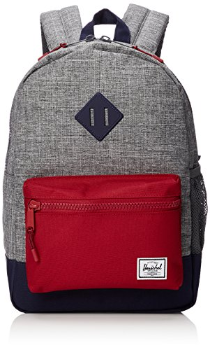 Herschel Supply Co. Kids' Heritage Youth Children's Backpack, Raven Crosshatch/Peacoat/Red, One Size by Herschel Supply Co.