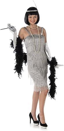 Generique Disfraz de Charlestón Plateado Mujer L: Amazon.es ...