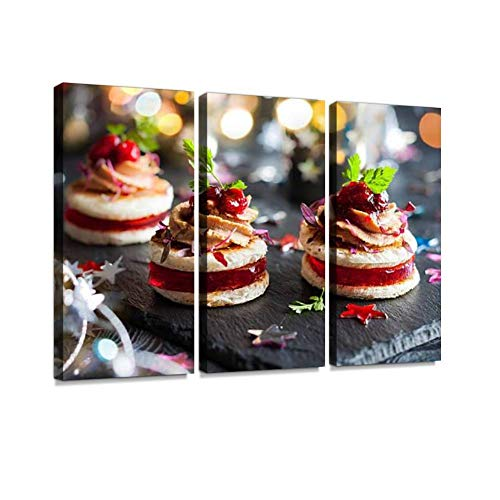 BELISIIS Foie gras and Cranberry Chutney Wall Artwork Exclusive Photography Vintage Abstract Paintings Print on Canvas Home Decor Wall Art 3 Panels Framed Ready to Hang