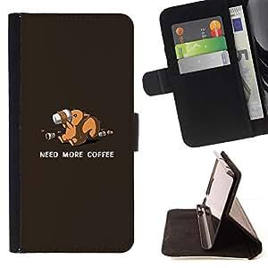 Momo Phone Case / Flip Funda de Cuero Case Cover - Need More Coffee Squirrel - Funny - LG G3