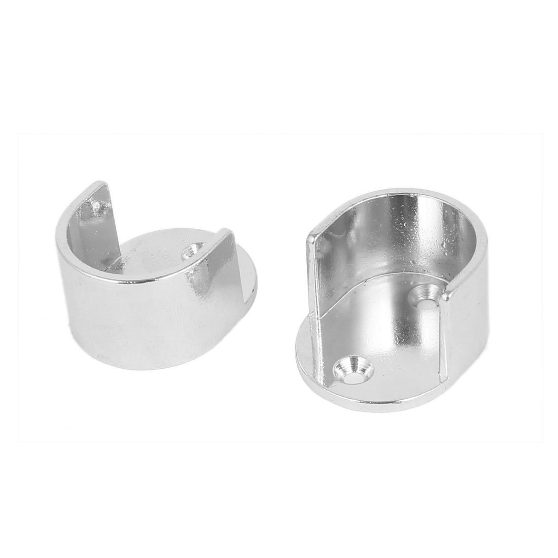 sourcingmap® 25mm Dia Rod Flange Holder Bracket Silver Tone 2PCS for Wardrobe Closet a16080100ux0781