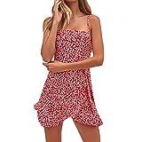 HTDBKDBK Womens Floral Print Dress Ladies Summer Holiday Beach Sleeveless Party Dress Sling Dress Red