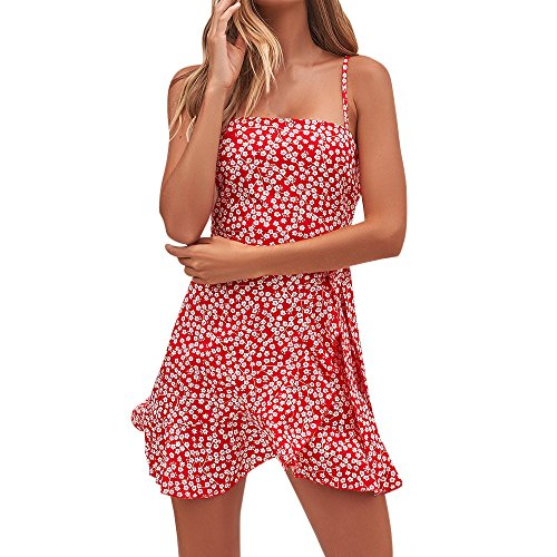 iFOMO Womens Summer Holiday Beach Floral Print Spaghetti Strap Dress Ladies Sleeveless Mini Party Dress Red M
