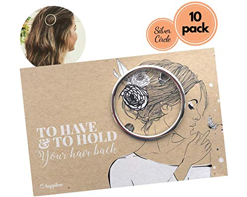 Bridesmaid Gifts Multi-Pack | Friendship Gifts | Geometric Hair Clips | Bridesmaid Proposal Box | Bachelorette Gifts | Bridal Shower Favors | Gifts for Girls | Bride Tribe (10 Pack, Silver Circle)