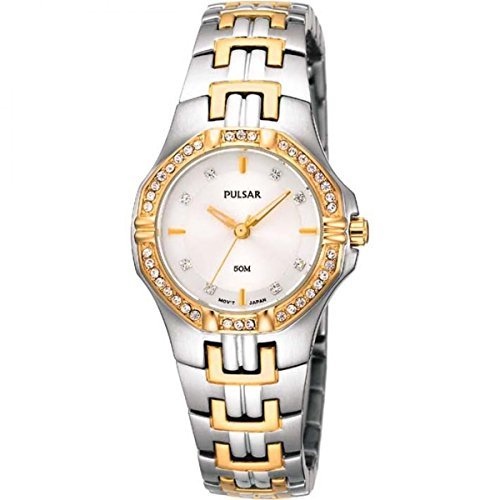 8 Crystal Accented Two-Tone Stainless Steel Watch (Two Tone Pulsar Fashion Watch)