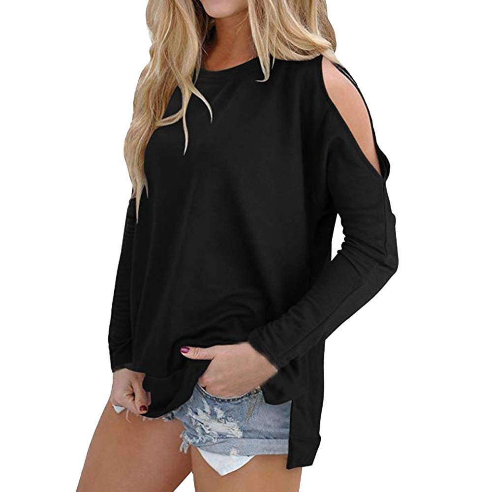 Ulanda Women's Cutout Cold Shoulder Casual Long Sleeve T-Shirt Tunic Tops Blouse