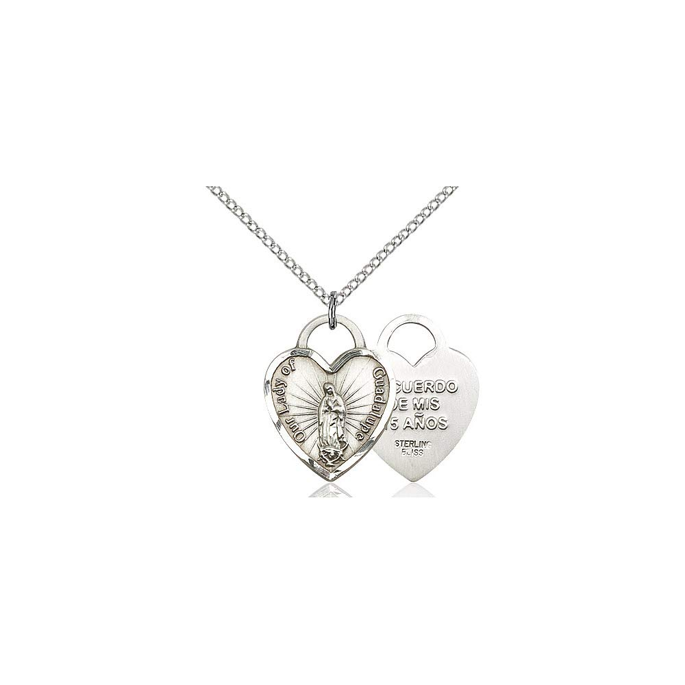 DiamondJewelryNY Sterling Silver O//L of Guadalupe Heart Pendant
