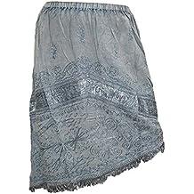 Mogul Women's Boho Skirt Grey Stonewashed Embroidered Rayon Stylish Midi Skirts XS