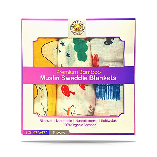 Baby Swaddle Blankets for Newborns. 100% Organic Bamboo Muslin, 3 Pack, Infant Boys and Girls Receiving Swaddles Blanket. Large 47X47 inch, Newborn Babies Swaddling Wrap. (Bear,Unicorn,Fox)