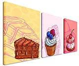Gardenia Art - Foods Canvas Paintings Wall Art Pictures Abstract Brown Pink Cakes Prints for Kitchen Restaurant Bedroom Dining Room Decoration, 12x16 inch, 3 Panels
