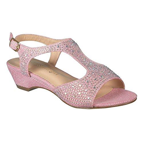 Jenter Rosa Glitter T-rem Rhinestone Lav Plattform Kile Sandaler 11-4 Barn