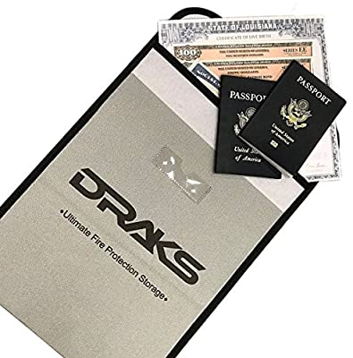 "DRAKS 15""x11"" Premium Fire Resistant Document Bag- Water Resistant Heavy Duty Fiberglass Fireproof Envelope- Money Pouch- Save Documents, Passport, Valuables From Fire- Home Office Safety Equipment"