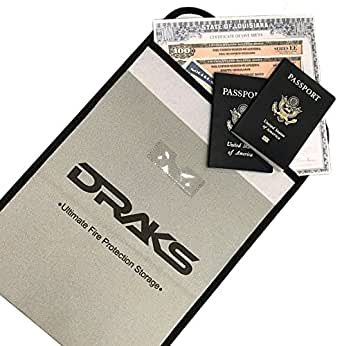 """DRAKS 15""""x11"""" Premium Fire Resistant Document Bag- Water Resistant Heavy Duty Fiberglass Fireproof Envelope- Money Pouch- Save Documents, Passport, Valuables From Fire- Home Office Safety Equipment"""