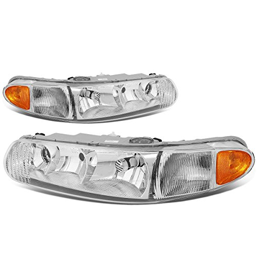 For Buick Century/Regal Pair of Headlight Lamp (Chrome Housing Amber Corner) 6th gen