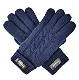 Bruceriver Ladie's Pure Wool Knit Gloves with Thinsulate Lining Cable Design and Turnover Cuff Size M (Navy)