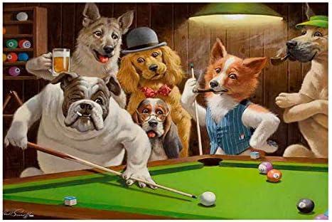 REDWPQ Wall Art Picture Poster Home Decor Art Wall Dogs Playing Pool Billar Pintura al óleo Imagen Impresa en Lienzo 50 * 75 cm sin Marco: Amazon.es: Hogar