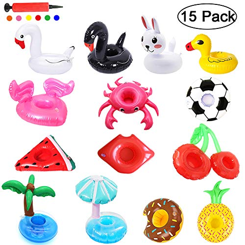 Angela&Alex Inflatable Drink Holders 15 PCS Drink Floats Beverage Cup Coasters for Pool Beach Party Supplies Favors Kids Bath Toys Swan Crab Pineapple Palm Tree Watermelon Rabbit Hot Tub Accessories