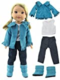 American Fashion World Teal Fringe Western 4 pc Outfit -Fits 14 Inch Wellie Wisher Dolls | 14 Inch Doll Clothing