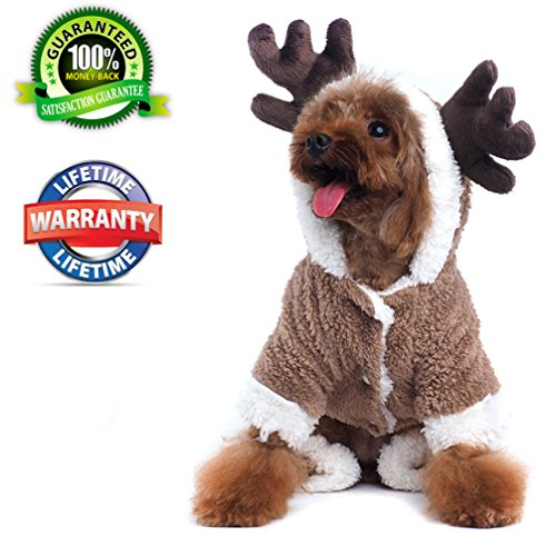 Funny Little Dog Costumes (Dog Hoodies Winter Warm Velvet Apparel Jacket Pet Funny Reindeer Dogs Costume for Puppy Medium Large Dog Christmas Party (XL))