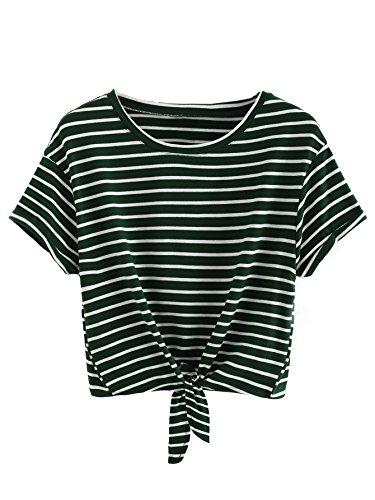 Romwe Women's Knot Front Cuffed Sleeve Striped Crop Top Tee T-Shirt Green White M