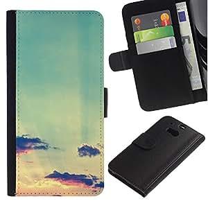 iBinBang / Flip Funda de Cuero Case Cover - Nuages ??Coucher de soleil - HTC One M8