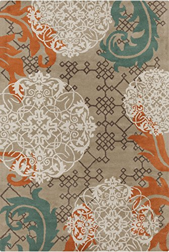 Chandra Rugs Stella Area Rug, 60-Inch by 90-Inch, Tan/Cream/Brown/Orange/Blue