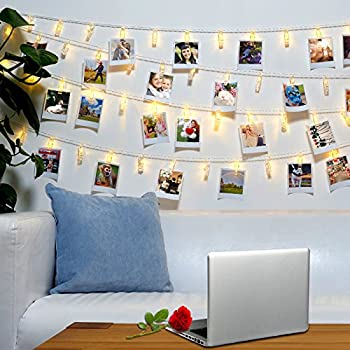Jokmae 40 led photo clips string lights 8 - How to hang string lights on wall ...