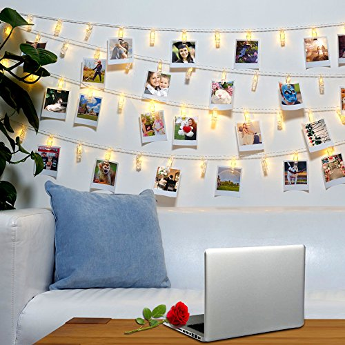 40 LED Photo Clips String Lights – 8 Modes Wall Hanging Clothespin Picture Display Peg Card Holder, Girl Back to School Dorm Room Décor Essential, Birthday Party Halloween Christmas Decorations Gifts by HappyDoggy
