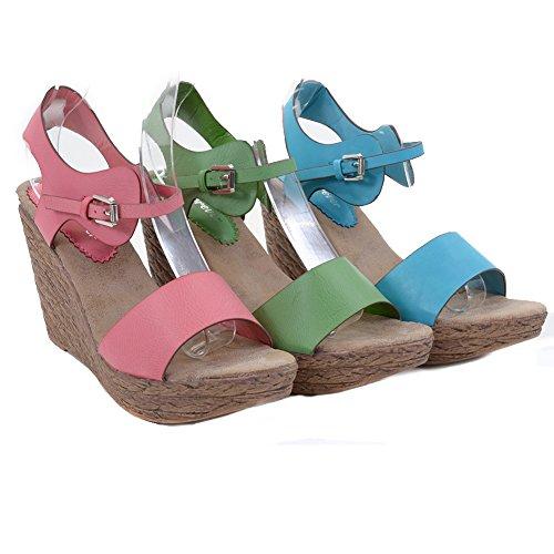 Sandales Compensées Compensées En Cuir Végétal Femme Talons Fuchsia