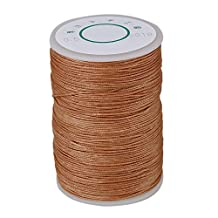 WEONE Light Brown 0.5mm Wax Polyester Twisted Cord Leather Sewing String 120 Meters Round Thread Line