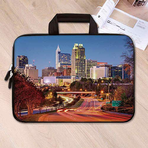 (United States Custom Neoprene Laptop Bag,Raleigh North Carolina USA Express Way Business District Building Skyscrapers Decorative for Men Women Students,8.7''L x 11''W x 0.8''H)